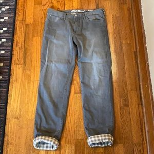 Eddie Bauer flannel lined grey pants
